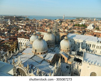 The roof of the Cathedral of San Marco, Venice , Italy,from Campanille tower with it's domes and beautiful sunset.