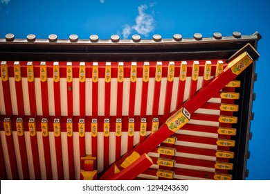 The roof and ceiling of a Shinto shrine near Japan's eastern coast.