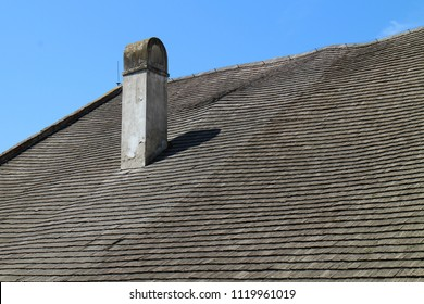 Roof with chimney on Buchlov castle, Czech republic