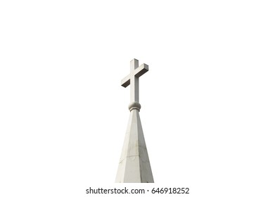 roof of the church with the cross icon on top of it isolated on white background