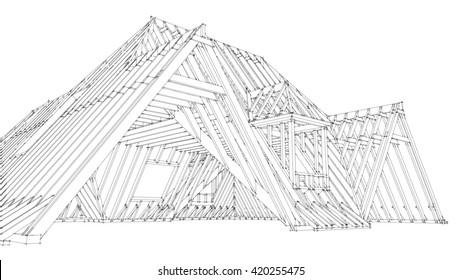 roof construnction 3D rendering