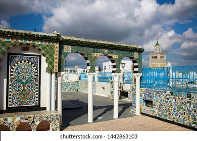 Roof deck with Kasbah Mosque minaret in the background at Medina of Tunis (Tunisia)