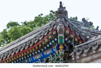 Roof detail of historic buildings in city of China.