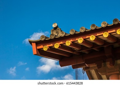 Roof detail of Japan buddhism temple architecture contemporary Japan style  blue sky and Roof background.