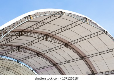 Roof Dome construction, canvas and metal sheet for event. White canvas roof - Shutterstock ID 1371256184
