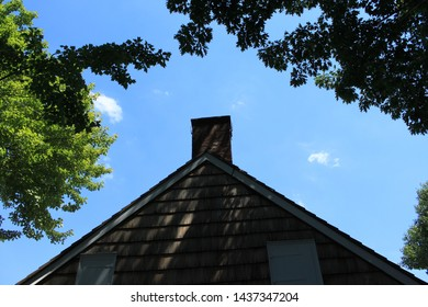 roof facade of  Wyckoff House, or Pieter Claesen Wyckoff House is located Clarendon Road in the Canarsie Brooklyn. The house itself is located in Milton Fidler Park. Brooklyn NY June 28 2019
