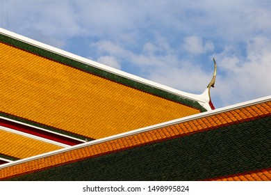 Roof of the famous Buddhist Wat Pho Temple in Bangkok, Thailand