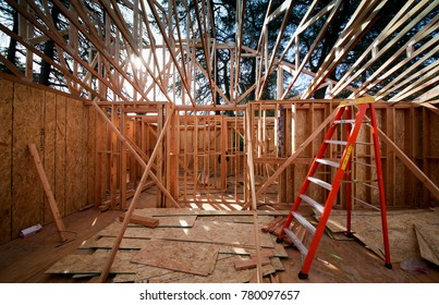 Roof framing under construction