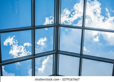 Roof of glass, Abstract high-tech architecture background photo