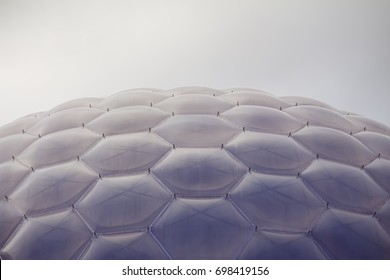 roof of high-tech orangery, called biome,  in Eden Project,  a popular visitor attraction in Cornwall, England; August 2017