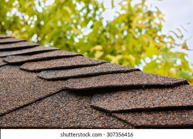 roof of house on background of sky and  tree