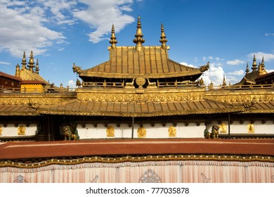 Roof of the Jokhang Monastery in Lhasa, Tibet, in the People's Republic of China.