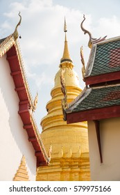 Roof of Lanna style with colorful sky background,Thai old roof Church.