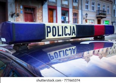 Roof lights of polish police (Policja) car on the street