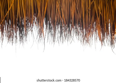 roof made from dry grass on white background