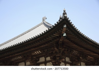 The Roof Of The Main Hall Of Toshodai Temple