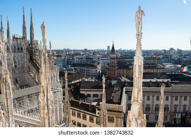 Roof of Milan Cathedral, Duomo di Milano, Italy, one of the largest Gothic churches in the world.