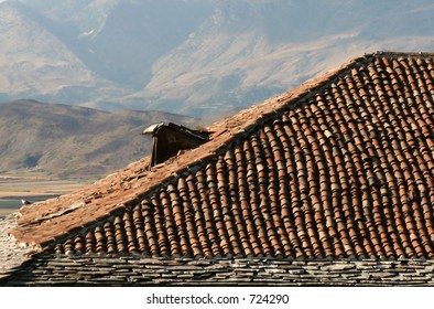 Roof and mountains, Albania, Europe
