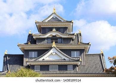 Roof of Okayama castle (Ravens Castle, Black castle), Okayama city, Japan