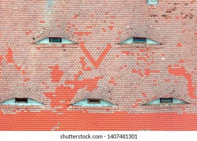 Roof in Old Town of Sibiu. Sibiu, Sibiu County, Romania.
