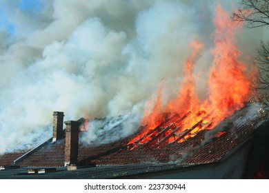 The roof on fire
