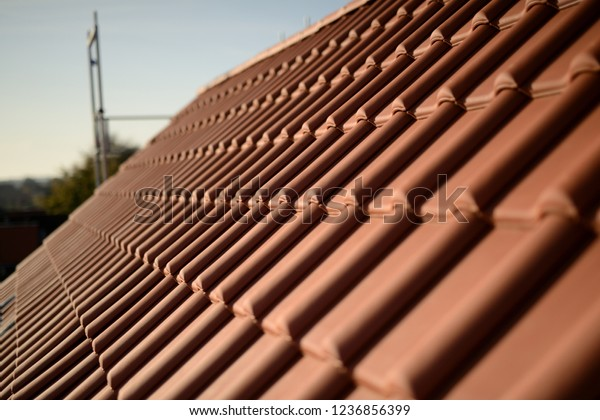 Roof Panorama New Red Clay Tiles Stock Photo (Edit Now