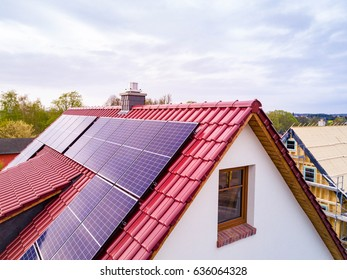 roof with photovoltaic system or solar module