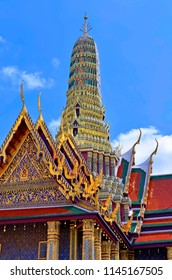 Roof of the Prasat Phra Thep Bidon at the Wat Phra Kaew in the Grand Palace of Bangkok