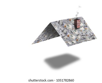 Roof of a private house made of dollar bills on the white background, concept of property mortgage.