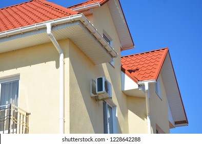 Roof Problem Areas for Rain Gutter Waterproofing Outdoor. Home Guttering, roof gutters, plastic guttering system.