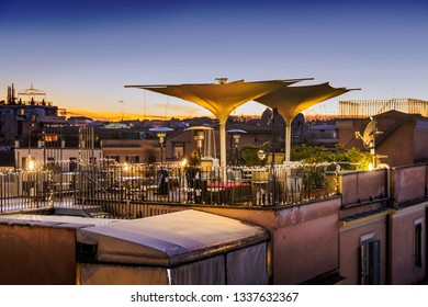 Roof restaurant and garden terrace in Rome