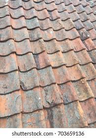 roof shingles in old city Riga Latvia