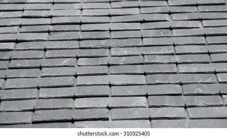 Roof slates in close-up