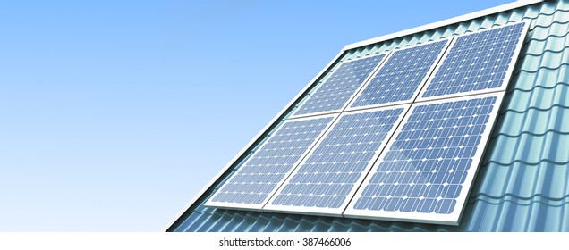 roof solar panels 3d Illustrations on a white background