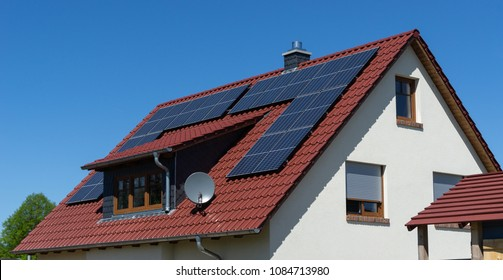 roof with solar panels or photovoltaic plant