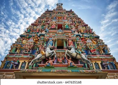 The roof of a Sri Mahamariamman hindu temple in Kuala Lumpur