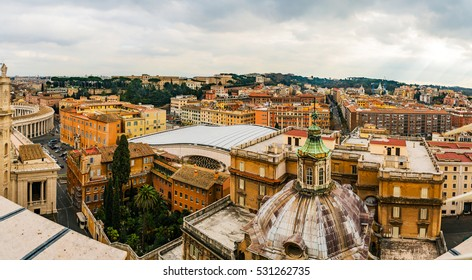 The roof at St. Peter's Basilica in the Vatican City, the papal enclave inside Rome, directly west of the neighbourhood or rione of Borgo.