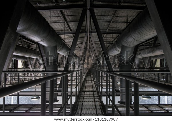Roof Structure Steel Passage Cooling System Stock Photo