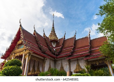 roof style of thai temple with blue sky background.