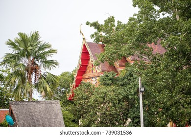The roof of the temple is on the front.