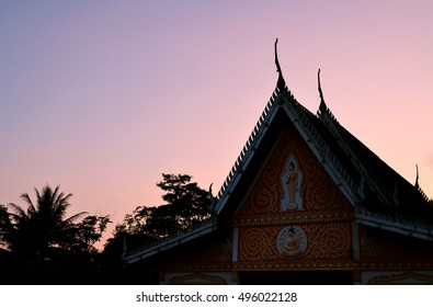 Roof temple in sunset at Thailand