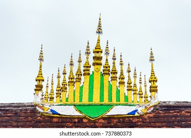 The roof of the temple Wat Sensoukaram in Louangphabang, Laos. Close-up