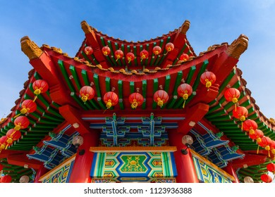 The roof of the Thean Hou Temple decorated with red Chinese lanterns, Kuala Lumpur, Malaysia