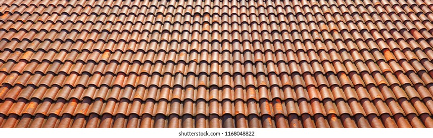 Roof tiles made of terracotta. Italian rooftop.