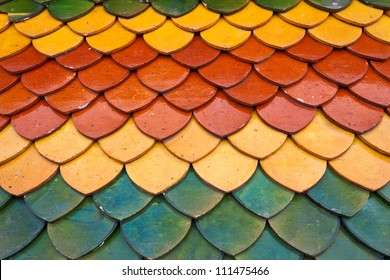 Roof tiles texture of Temple in Thailand.