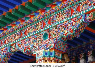 Roof top design of an temple in tibet