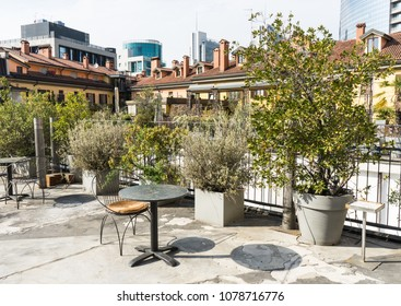 Roof top of a house in Milan, Italy