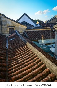 Roof top of old brick houses in Hoi An ancient town, Vietnam. Hoi an is recognized as a World Heritage Site by UNESCO.