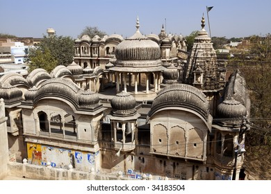 roof top of old haveli of nawalgarh city rajasthan state in india