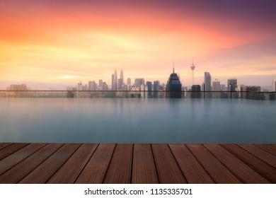 Roof top pool with beautiful city view in morning, Kuala lumpur Malaysia